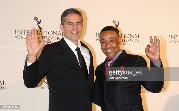 Actors Jim Caviezel and Giancarlo Esposito attend the 41st International Emmy Awards at the Hilton New York on November 25 2013 in New York City