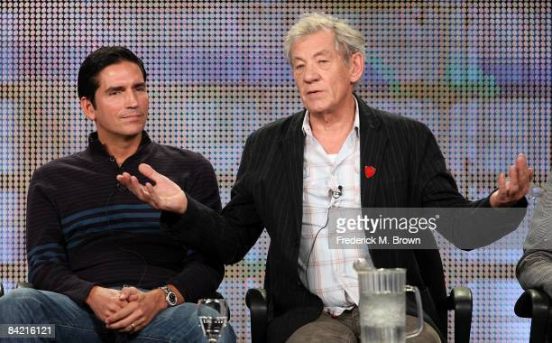 Actors Jim Caviezel and Sir Ian McKellen speak during the AMC portion of the 2009 Winter Television Critics Association Press Tour at the Universal...