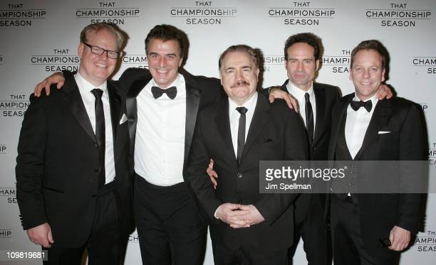 Actors Jim Gaffigan Chris Noth Brian Cox Jason Patric and Kiefer Sutherland attend the after party for the opening night of That Championship Season...