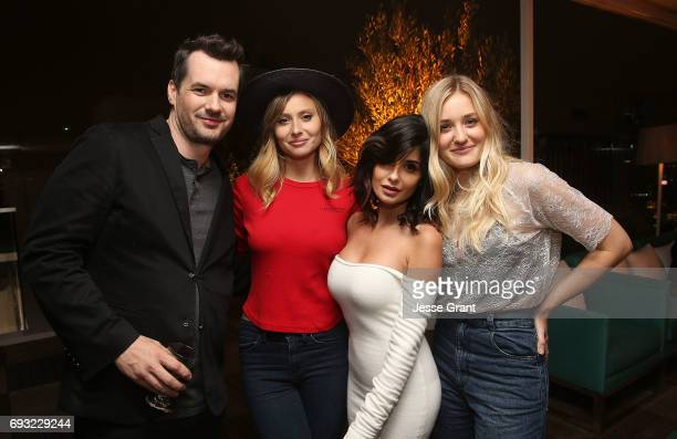 Actors Jim Jefferies Aly Michalka Mikaela Hoover and AJ Michalka attend the Comedy Central premiere party for The Jim Jefferies Show on June 6 2017...