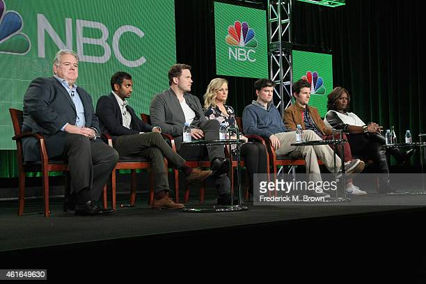 Actors Jim O'Heir Aziz Ansari Chris Pratt Amy Poehler executive producer Mike Schur actors Adam Scott and Retta speak onstage during the 'Parks and...
