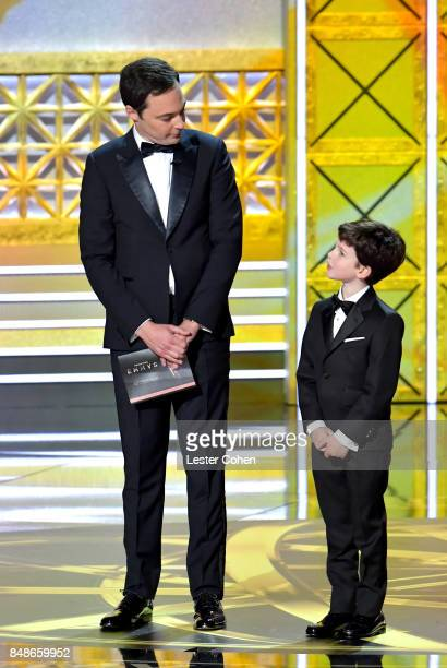 Actors Jim Parsons and Iain Armitage speak onstage during the 69th Annual Primetime Emmy Awards at Microsoft Theater on September 17 2017 in Los...
