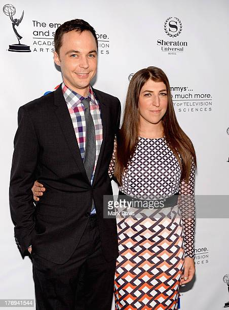Actors Jim Parsons and Mayim Bialik arrive at the Academy of Television Arts & Sciences' Performers Peer Group cocktail reception to celebrate the...