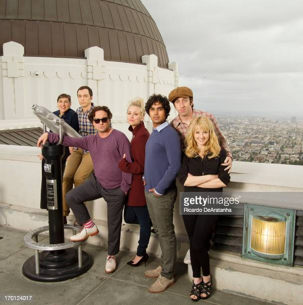 Actors Jim Parsons Johnny Galecki Kaley Cuoco Simon Helberg Kunal Nayyar Melissa Rauch Mayim Bialik are photographed for Los Angeles Times on June 6...