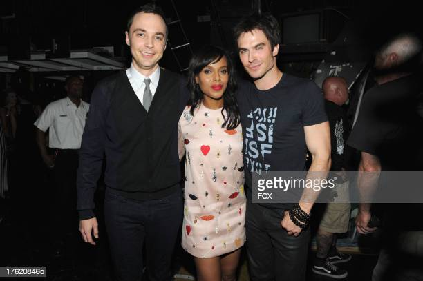 Actors Jim Parsons Kerry Washington and Ian Somerhalder pose backstage at the 2013 Teen Choice Awards at Gibson Amphitheatre on August 11 2013 in...