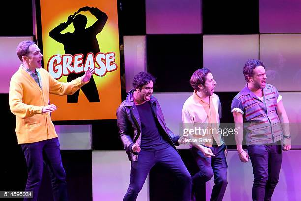 Actors Jim Parsons Kunal Nayyar Simon Helberg and Johnny Galecki perform onstage during the 24th and final A Night at Sardi's to benefit the...