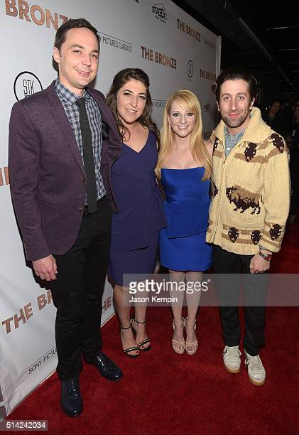 Actors Jim Parsons Mayim Bialik writer/actress Melissa Rauch and actor Simon Helberg attend the premiere of Sony Pictures Classics' The Bronze at the...