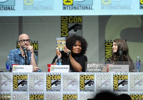 Actors Jim Rash Yvette Nicole Brown and Alison Brie speak onstage at the 'Community' celebrating the fans during ComicCon International 2013 at San...
