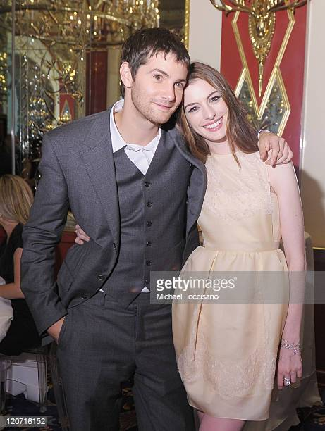 "Actors Jim Sturgess and Anne Hathaway attend the ""One Day"" premiere after party at the Russian Tea Room on August 8, 2011 in New York City."