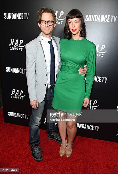 Actors Jimmi Simpson and Pollyanna McIntosh attend SundanceTV's Hap and Leonard Premiere Party at Hill Country Barbecue Market on February 25 2016 in...
