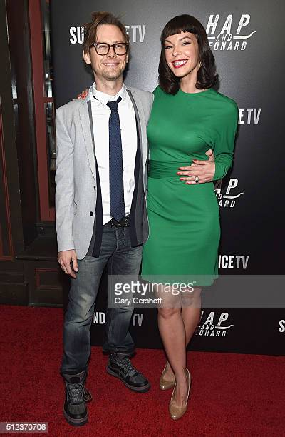 Actors Jimmi Simpson and Pollyanna McIntosh attend the Hap and Leonard New York screening at Hill Country on February 25 2016 in New York City