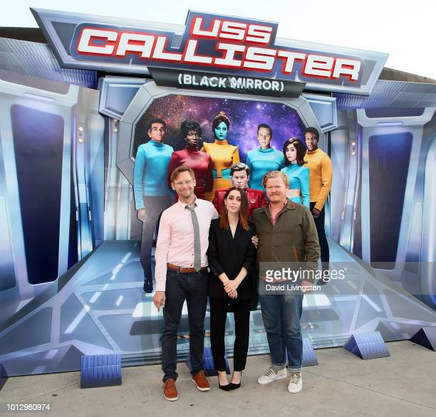 Actors Jimmi Simpson Cristin Milioti and Jesse Plemons attend Netflix's USS Callister special reveal photo call on August 7 2018 in West Hollywood...
