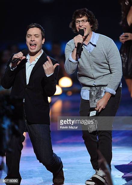 Actors Jimmy Fallon and Andy Samberg speak onstage during the 2009 MTV Video Music Awards at Radio City Music Hall on September 13 2009 in New York...