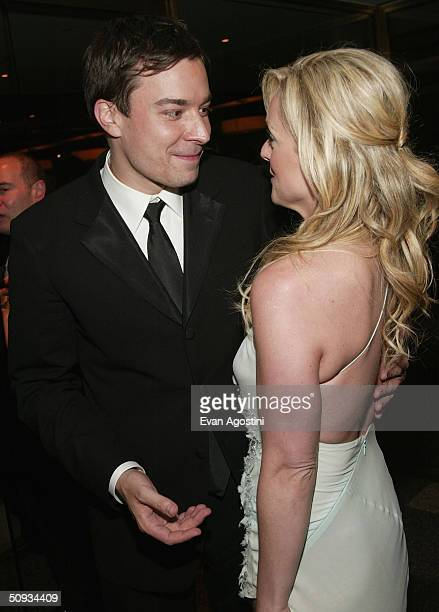 Actors Jimmy Fallon and Jane Krakowski attend the 2004 Tony Awards Gala afterparty at Rockefeller Plaza Skate Rink June 6 2004 in New York City