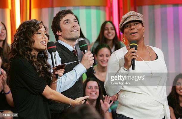 Actors Jimmy Fallon and Queen Latifah talk to VJ Vanessa Minnillo on MTV's Total Request Live at MTV Studios October 4 2004 in New York City New York