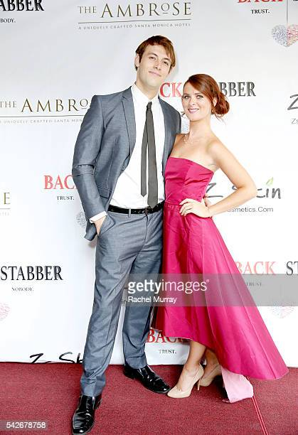 Actors Jimmy FlintSmith and Jessica Miano Kruel attend the red carpet premiere for the new Amazon series 'Back Stabber' at the Ambrose Boutique Hotel...