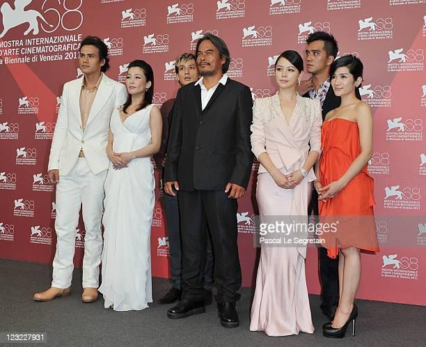 Actors Jimmy Huang Landy Wen Ando Masanobu Da Ching Vivian Hsu Umin Boya and Lo Meiling pose during the Warriors Of The Rainbow Seediq Bale photocall...