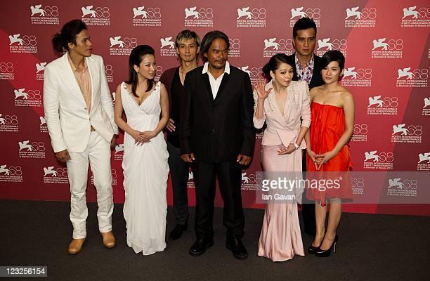 Actors Jimmy Huang Landy Wen Masanobu Ando Da Ching Vivian Hsu Umin Boya and Lo Meiling pose at the Warriors Of The Rainbow Seediq Bale photocall at...