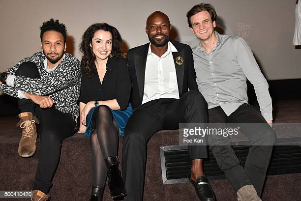 Actors Jimmy Jean Louis Isabelle Vitari Yassine Azzouz and Yacine Ait Kaci attend '1 mobile 1 minute 1 film' As Part Of Mobile Film Festival At...