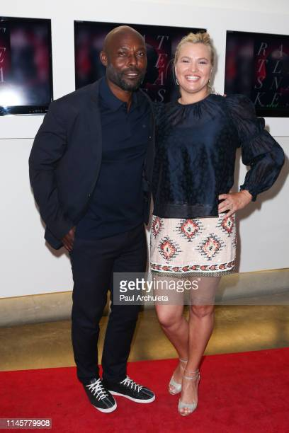 Actors Jimmy JeanLouis and Kathleen McClellan attend the Los Angeles Special Screening Of Rattlesnakes at Downtown Independent on April 28 2019 in...