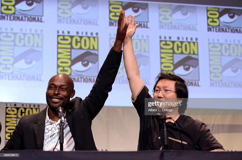 Actors Jimmy Jean-Louis (L) and Masi Oka speak onstage at the 'Heroes Reborn' exclusive extended trailer and panel during Comic-Con International 2015 at the San Diego Convention Center on July 12, 2015 in San Diego, California.
