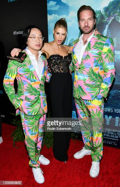 """Actors Jimmy O. Yang, Charlotte McKinney, and Ryan Hansen attend the premiere of Columbia Pictures' """"Blumhouse's Fantasy Island"""" at AMC Century City..."""