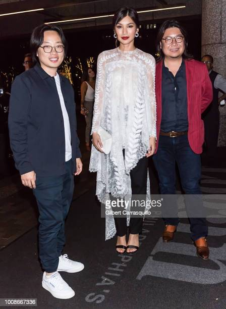 Actors Jimmy O Yang Gemma Chan and author Kevin Kwan are seen arriving to the 'Crazy Rich Asians' after party at Assembly Rooftop Lounge at The Logan...