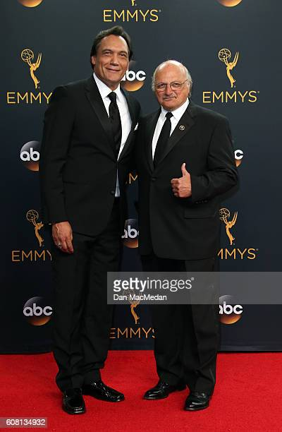 Actors Jimmy Smits and Dennis Franz pose in the press room at the 68th Annual Primetime Emmy Awards at Microsoft Theater on September 18 2016 in Los...
