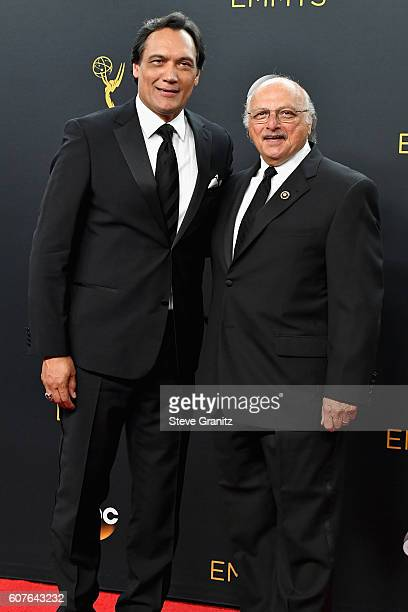 Actors Jimmy Smits and Dennis Franz pose in the press room during the 68th Annual Primetime Emmy Awards at Microsoft Theater on September 18 2016 in...