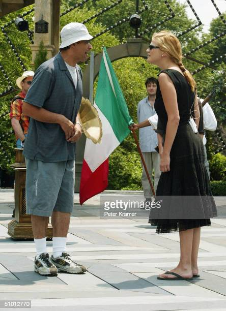 Actors Jimmy Smits and Kristen Johnston attend rehearsals of the 2004 Shakespeare in Central Park production of Much Ado About Nothing June 30 2004...