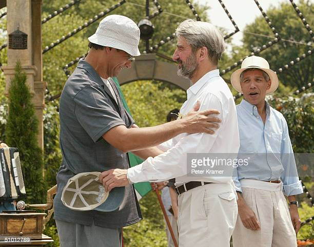 Actors Jimmy Smits and Sam Waterston attend rehearsals of the 2004 Shakespeare in Central Park production of Much Ado About Nothing June 30 2004 in...