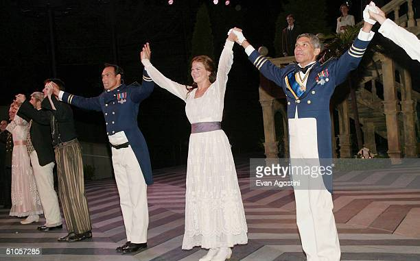 Actors Jimmy Smits, Kristen Johnston and Peter Francis James take a bow during the curtain call for The Public Theater's summer benefit and opening...