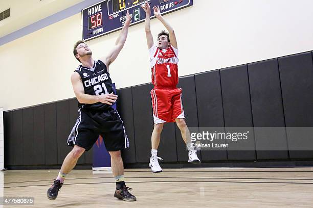 Actors Jimmy Tatro and Taylor Gray attend the ELeague celebrity basketball league game at Equinox Sports Club West LA on March 9 2014 in Los Angeles...