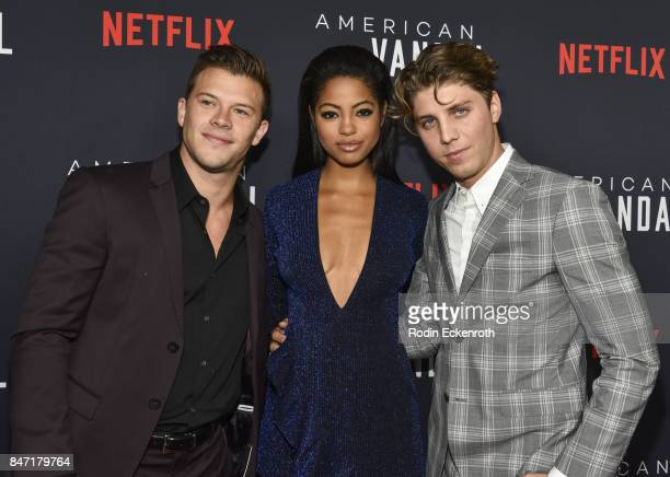 Actors Jimmy Tatro Camille Hyde and Lukas Gage attend the premiere of Netflix's American Vandal at ArcLight Hollywood on September 14 2017 in...