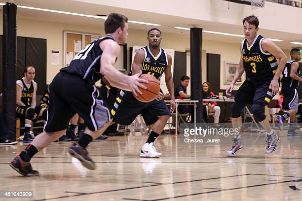 Actors Jimmy Tatro Michael B Jordan and John Paul attend the ELeague celebrity basketball game at Equinox Sports Club West LA on March 23 2014 in Los...