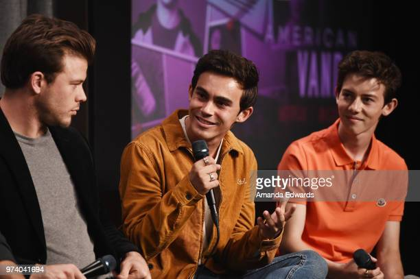 Actors Jimmy Tatro Tyler Alvarez and Griffin Gluck attend the SAGAFTRA Foundation Conversations screening of American Vandal at the SAGAFTRA...