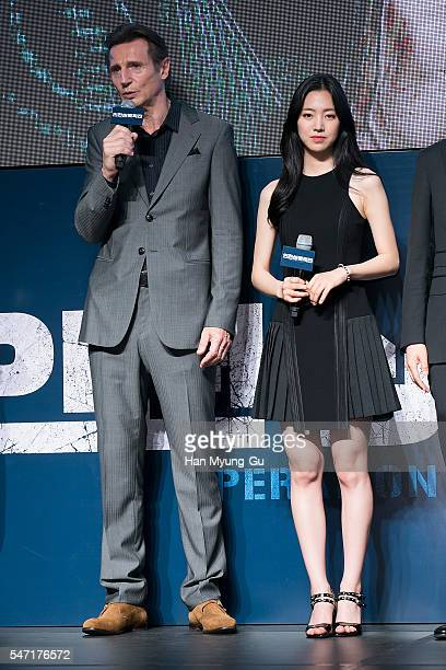 Actors Jin SeYeon and Liam Neeson attend the premiere for 'Operation Chromite' on July 13 2016 in Seoul South Korea The film will open on July 27 in...