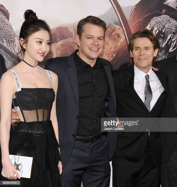 Actors Jing Tian Matt Damon and Willem Dafoe attend the premiere of 'The Great Wall' at TCL Chinese Theatre IMAX on February 15 2017 in Hollywood...