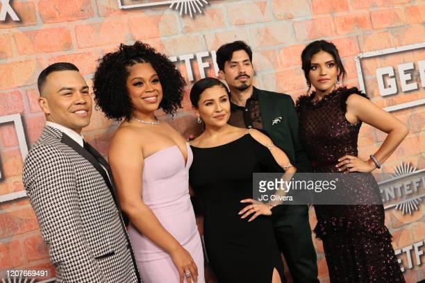 Actors JJ Soria Julissa Calderon Annie Gonzalez Carlos Santos and Karrie Martin attend the premiere of Netflix's Gentefied at Plaza de la Raza on...