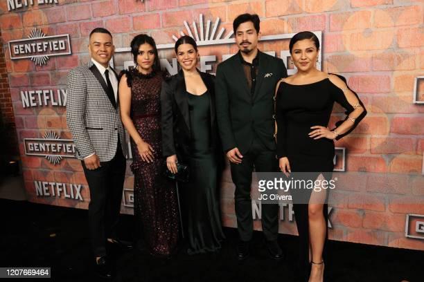 Actors JJ Soria Karrie Martin America Ferrera Carlos Santos and Annie Gonzalez attend the premiere of Netflix's Gentefied at Plaza de la Raza on...