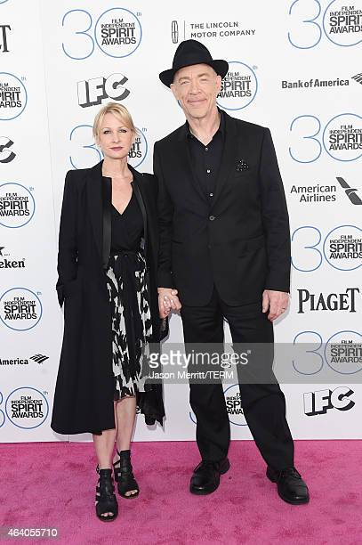 Actors JK Simmons and Michelle Schumacher attend the 2015 Film Independent Spirit Awards at Santa Monica Beach on February 21 2015 in Santa Monica...