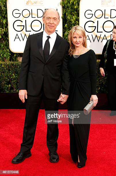 Actors JK Simmons and Michelle Schumacher attend the 72nd Annual Golden Globe Awards at The Beverly Hilton Hotel on January 11 2015 in Beverly Hills...
