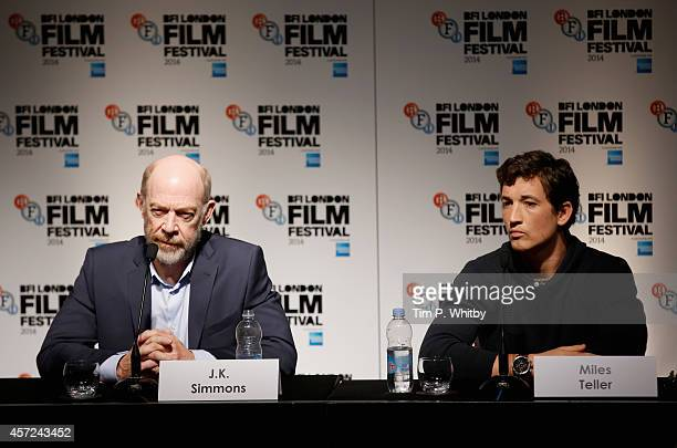 Actors JK Simmons and Miles Teller attend the press conference for Whiplash during the 58th BFI London Film Festival at The Mayfair Hotel on October...