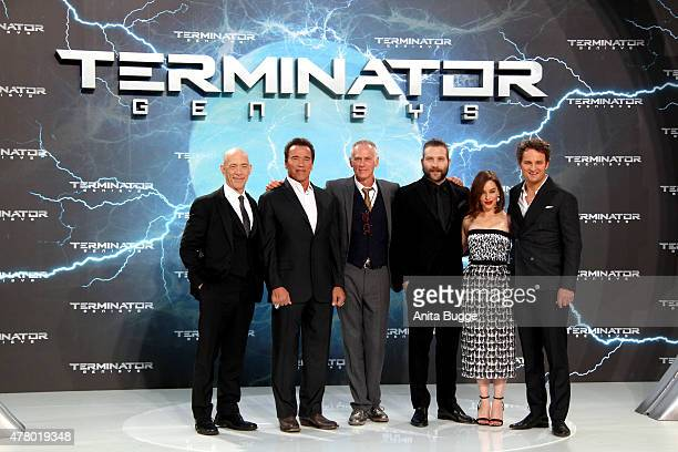 Actors JK Simmons Arnold Schwarzenegger director Alan Taylor actors Jai Courtney Emilia Clarke and Jason Clarke attend the European Premiere of...