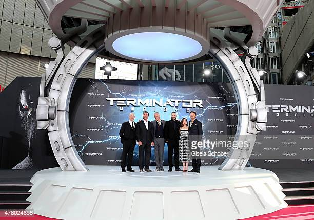 Actors JK Simmons Arnold Schwarzenegger director Alan Taylor actors Jai Courtney Emilia Clarke and Jason Clarke attend the European Premiere of...