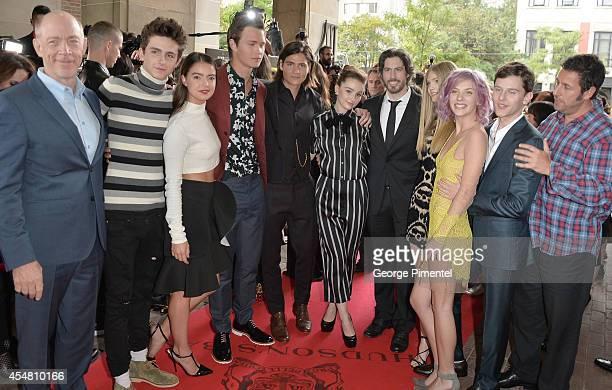 Actors J.K. Simmons, Timothee Chalamet, Katherine C. Hughes, Ansel Elgort, Will Peltz, Kaitlyn Dever, co-writer/director/producer Jason Reitman,...