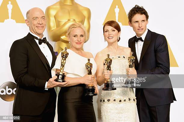 Actors JK Simmons winner of the award for best actor in a supporting role for the film 'Whiplash' Patricia Arquette winner of the award for Best...