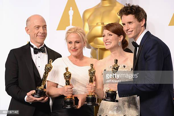 Actors JK Simmons with the award for best actor in a supporting role for 'Whiplash' Patricia Arquette with the award for best actress in a supporting...