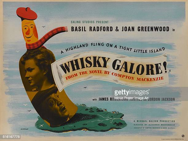 Actors Joan Greenwood and Basil Radford appear on a poster for the movie 'Whisky Galore!', based on the novel by Compton MacKenzie, 1949.
