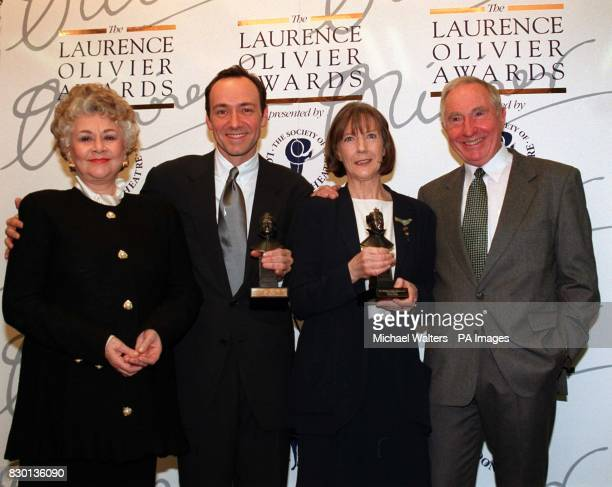 Actors Joan Plowright Kevin Spacey Eileen Atkins and Sir Nigel Hawthorne Atkins Spacey received Best Actress Best Actor for The Unexpected Man The...